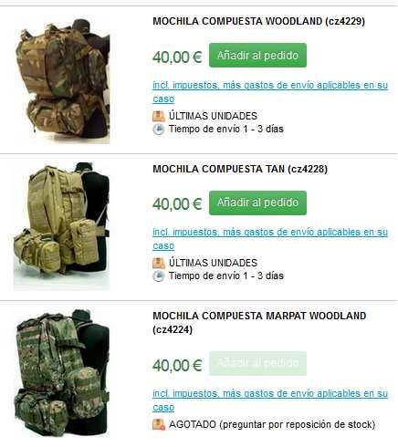 catalogo de mochilas militares