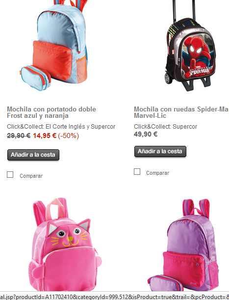 precios mochilas escolares