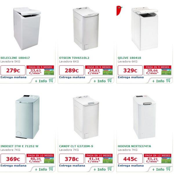 alcampo lavadoras con carga superior