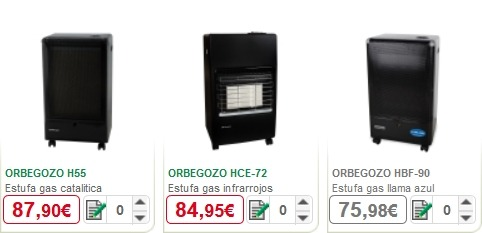 alcampo estufas catalogo precios