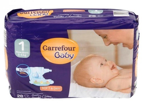 Pañales Carrefour Elásticos T1 2-5 Kg 28 unidades