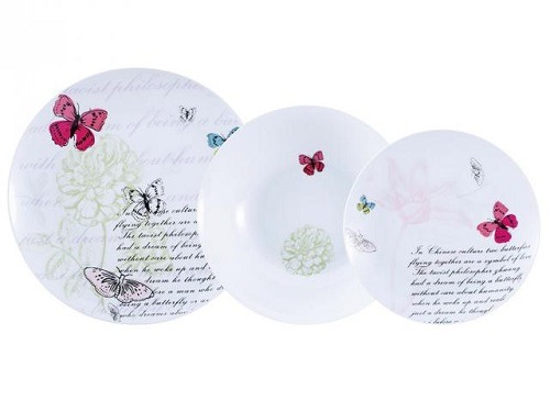 Vajillas Carrefour Vajilla de Porcelana BRUNCHFIELD Butterfly