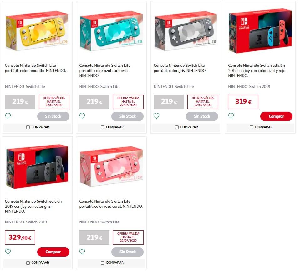 ofertas consolas Nintendo switch en Alcampo