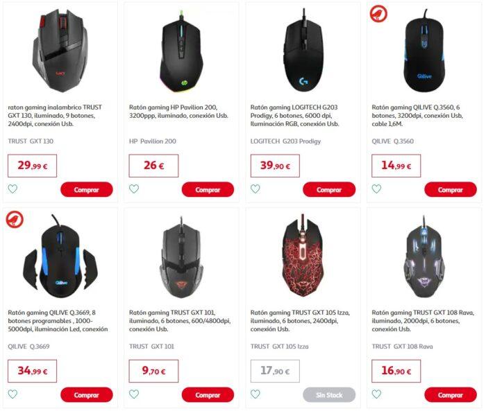 ratones gaming en oferta Alcampo