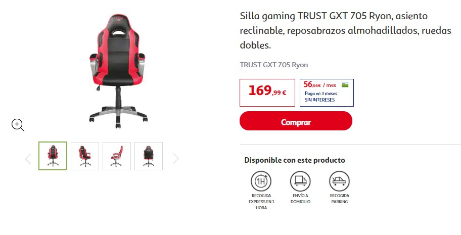 silla gaming trust GXT alcampo