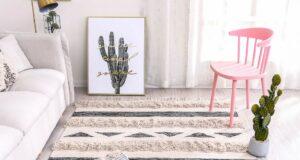 Living o sala con alfombra conforama