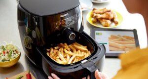 elaboración de papas fritas en freidora sin aceite philips
