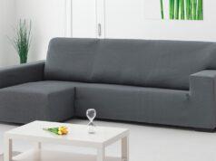 gran sofá con fundas chaise longue color gris
