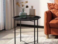 mesa auxiliar de metal y madera